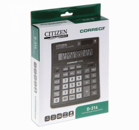 Калькулятор настольн CITIZEN Correct D-314 14-разряд черн